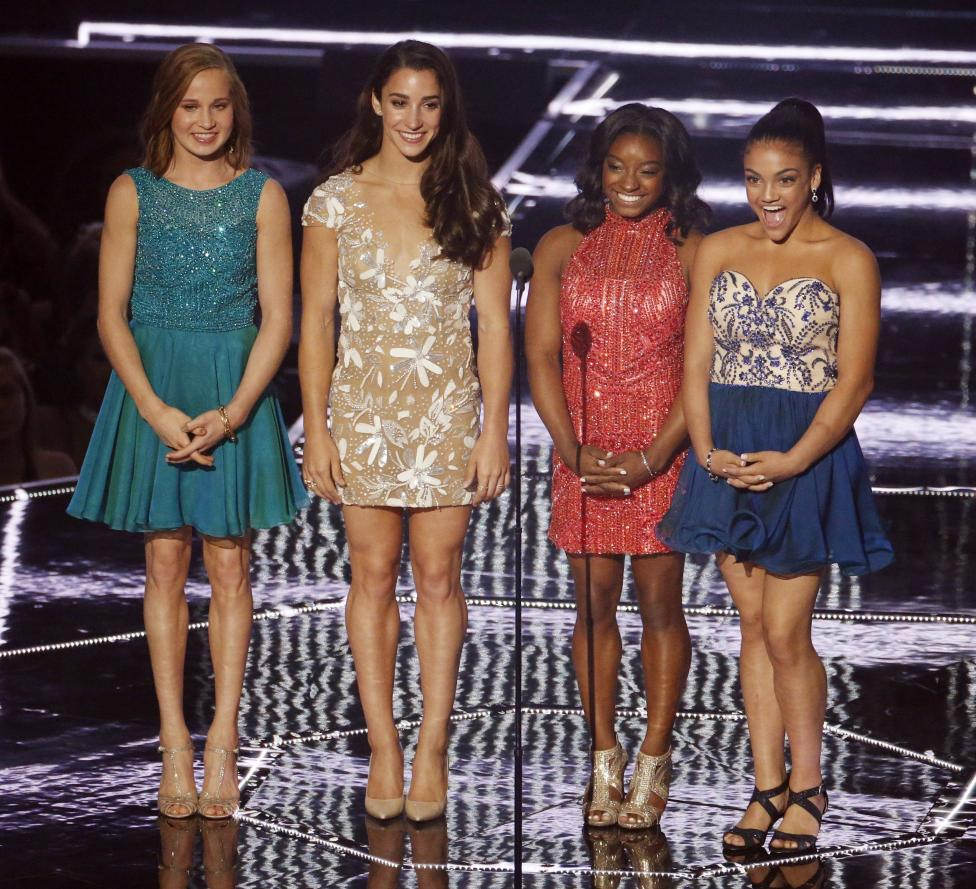 Madison Kocian, Aly Raisman, Laurie Hernandez and Simone Biles at the 2016 MTV Video Music Awards in New York