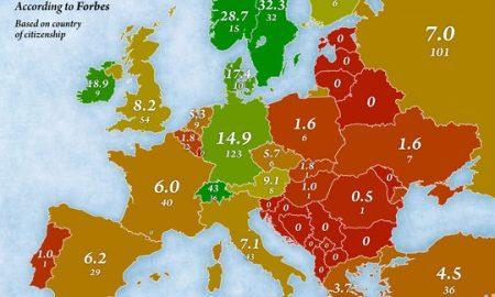 Бројот на милијардери во европските земји